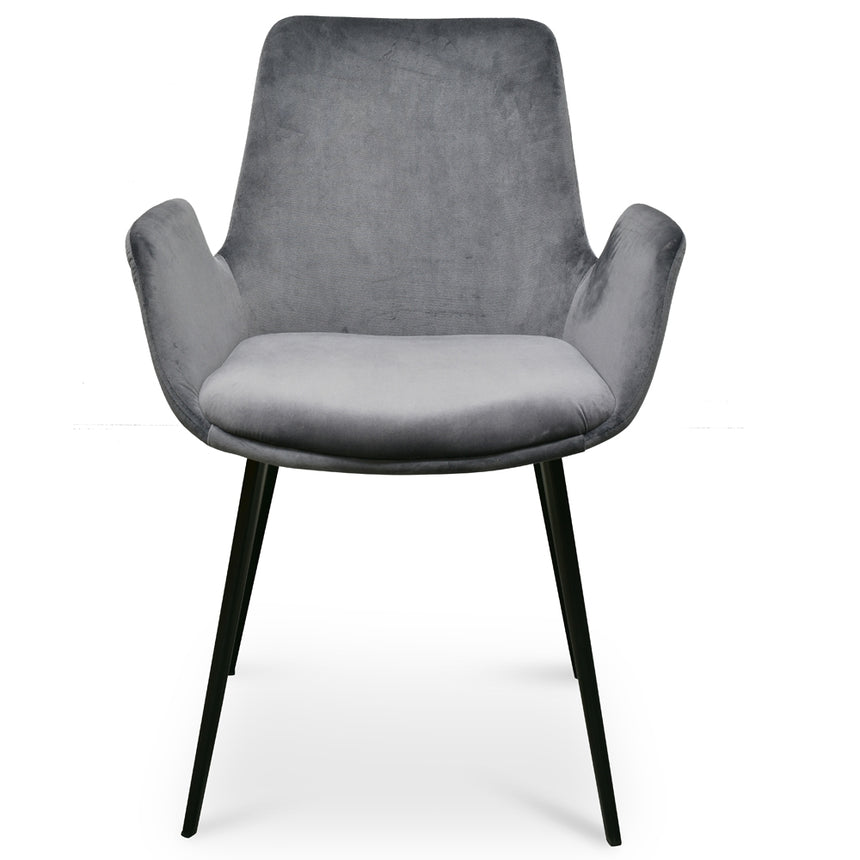 CDC2391-SE - Dining Chair - Dark Grey Velvet (Set of 2)