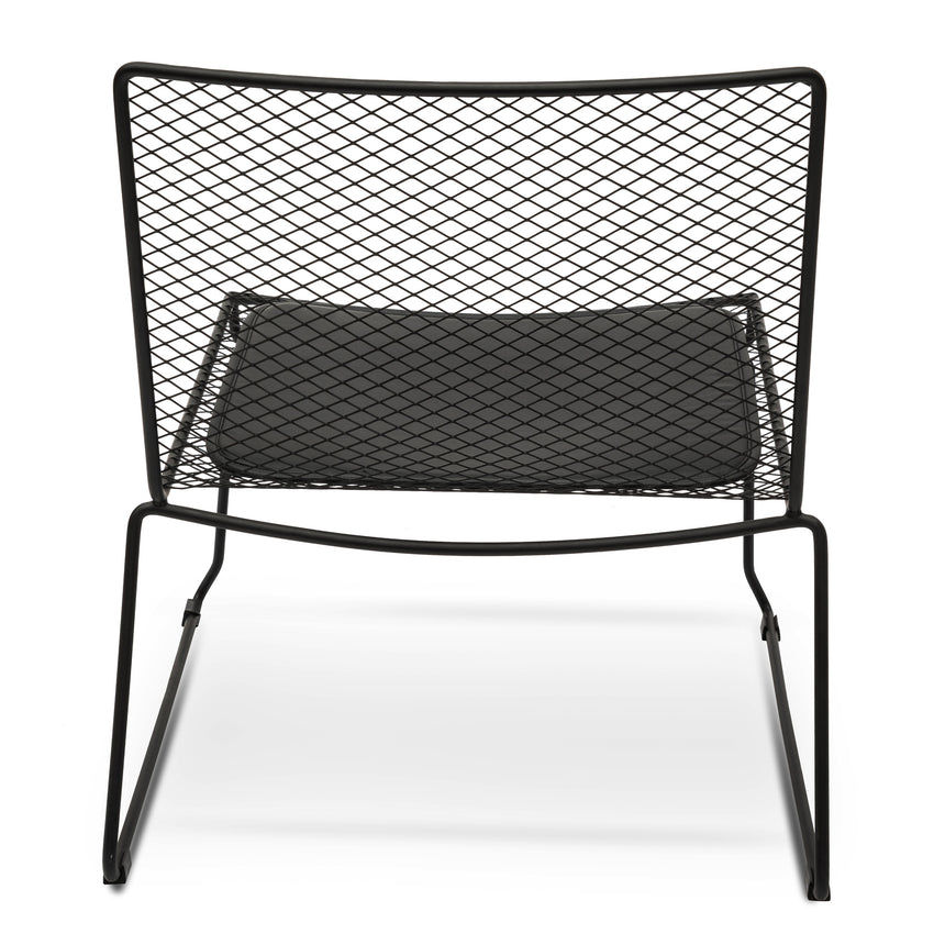 CDC2461-NH Lounge Chair With Light Grey Fabric Seat - Black Frame
