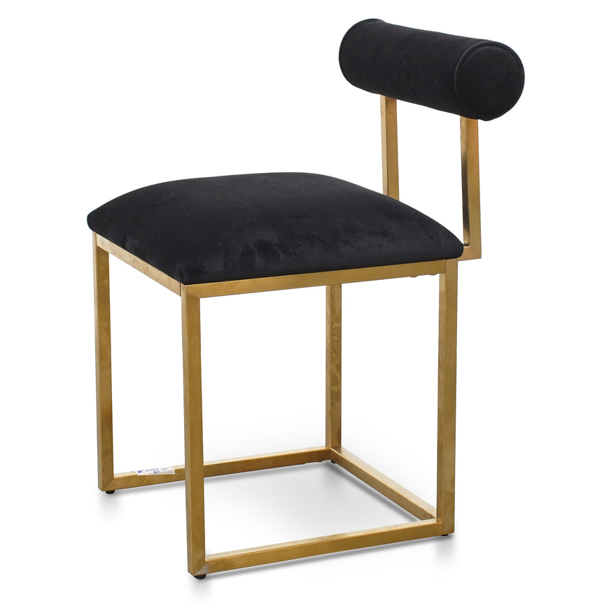CDC2621-BS Dining Chair In Black Velvet - Brushed Gold Base