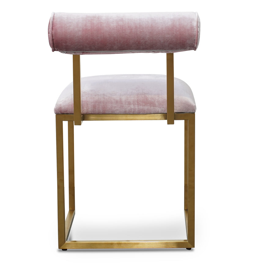 CDC2622-BS Dining Chair In Pink Velvet - Brushed Gold Base