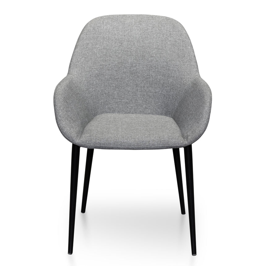 CDC6048-SD -  Dining Chair in Light Grey Fabric - Black Legs