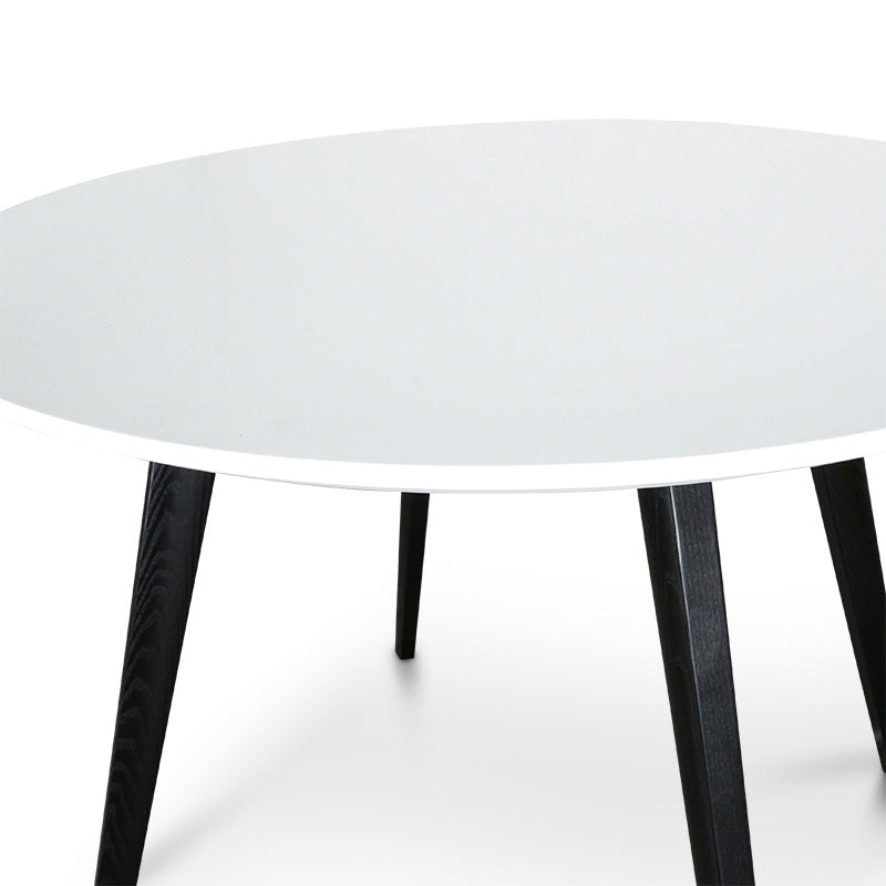CDT222-SD 100cm Round Dining Table - White Top - Black Legs