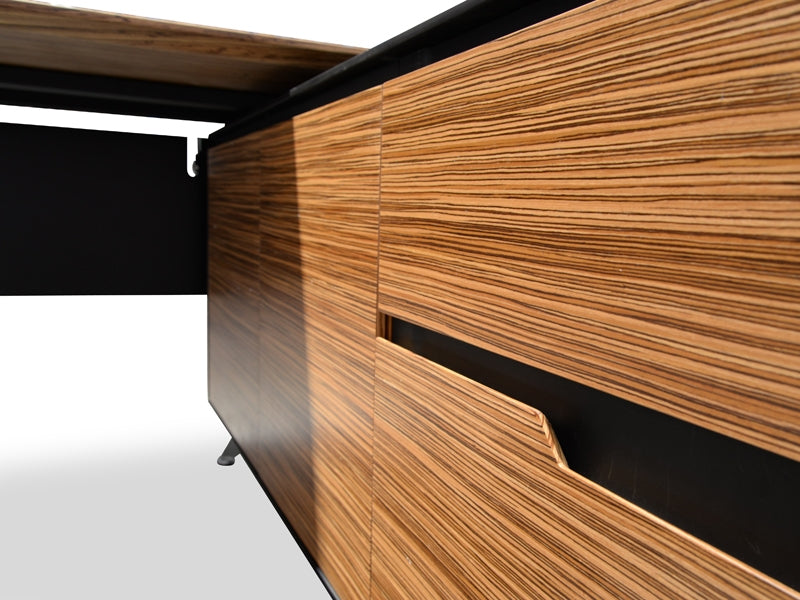 COT198-M 1.95m Executive Office Desk Left Return - Zebra Oak