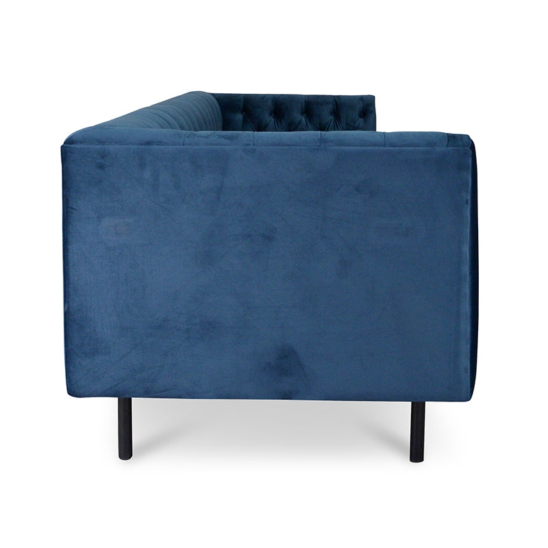 CLC2032-CA 3 Seater Chesterfield Fabric Sofa In Navy Blue