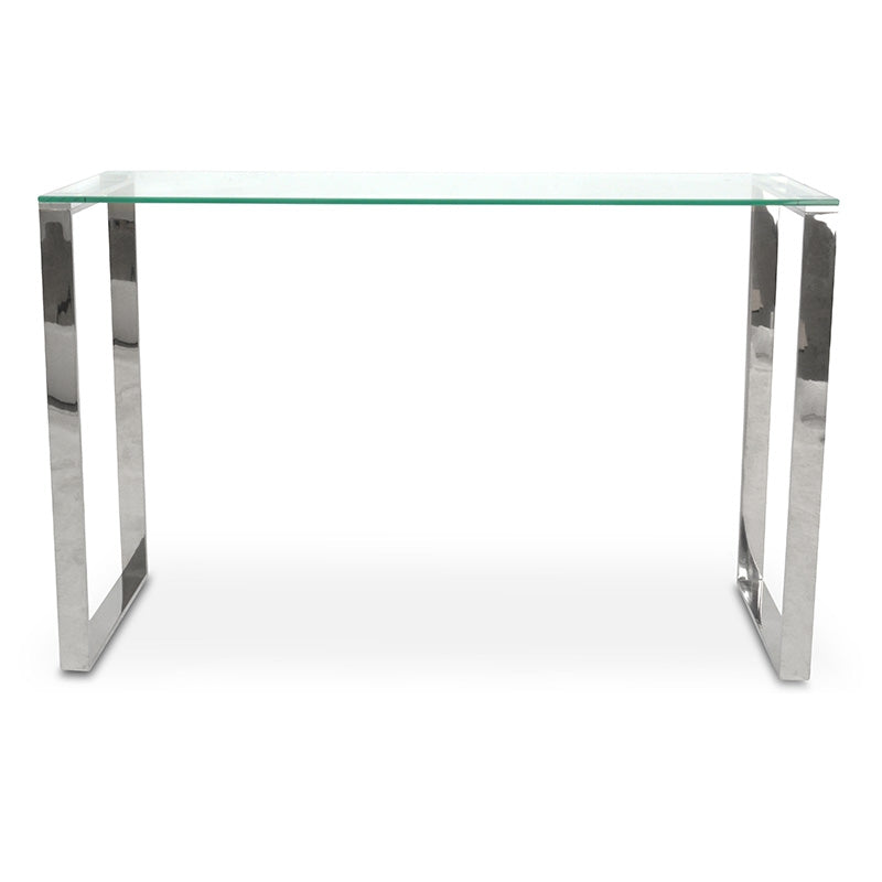 CDT2013-BS Console Table With Tempered Glass - Polished Stainless Steel