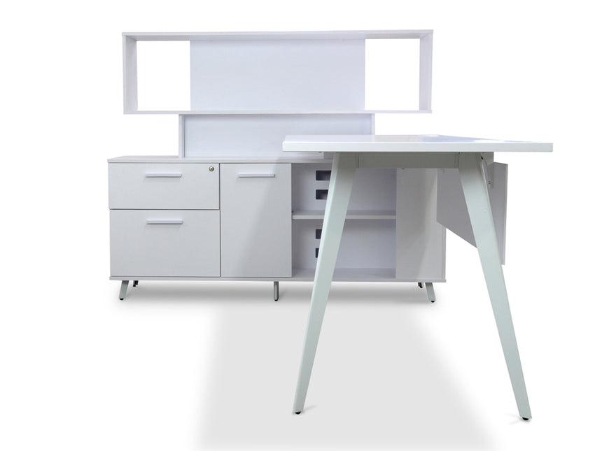 COT350-OT355 Executive Desk with Single Face Top Cabinet - Left Return - White