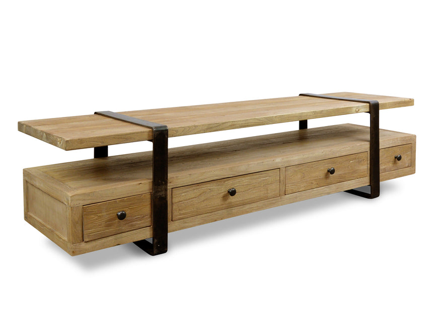 CDB2090 2m Reclaimed ELM Wood Bench - White Washed