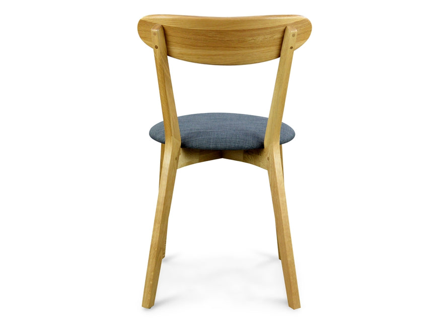 CDC440G  Dining  Chair Solid Natural Oak – Grey Fabric Seat