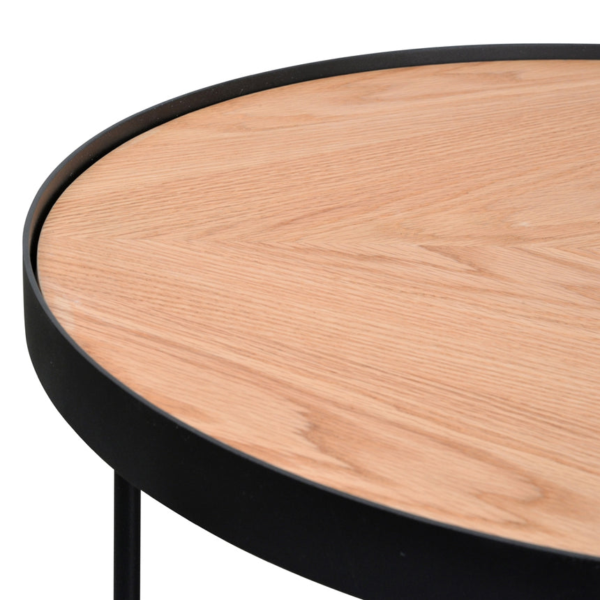 CCF392-BB 60x41cm Round Coffee Table - Natural Top - Black Frame
