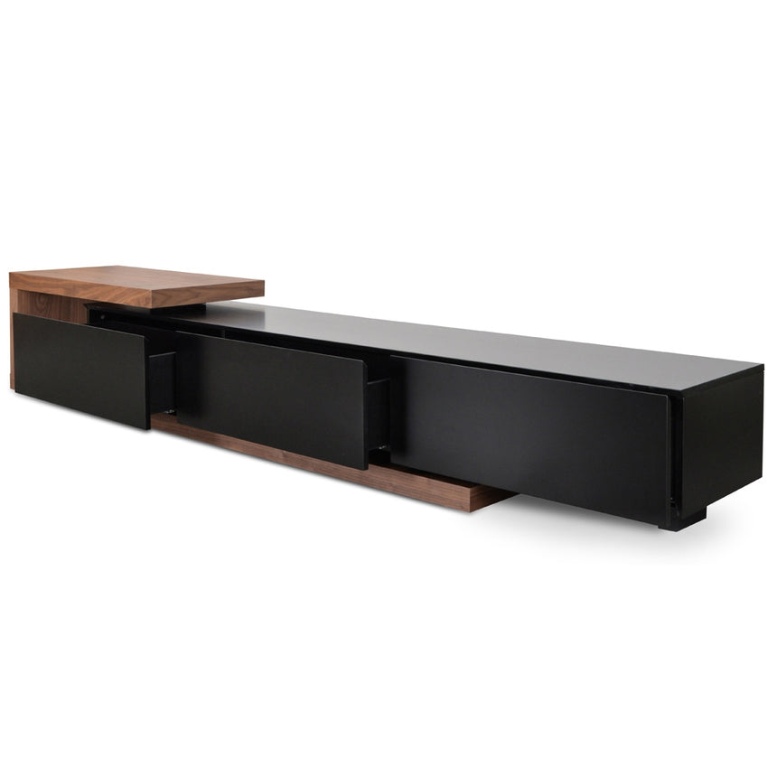 CTV1138-BB Scandinavian 2.4m-3.07m Lowline Entertainment TV Unit - Walnut - Black