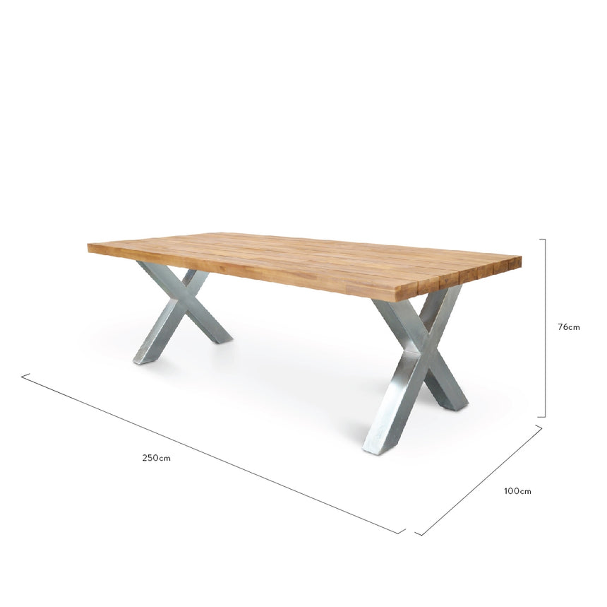 CDT1039 2.5m Outdoor Dining Table - Galvanized