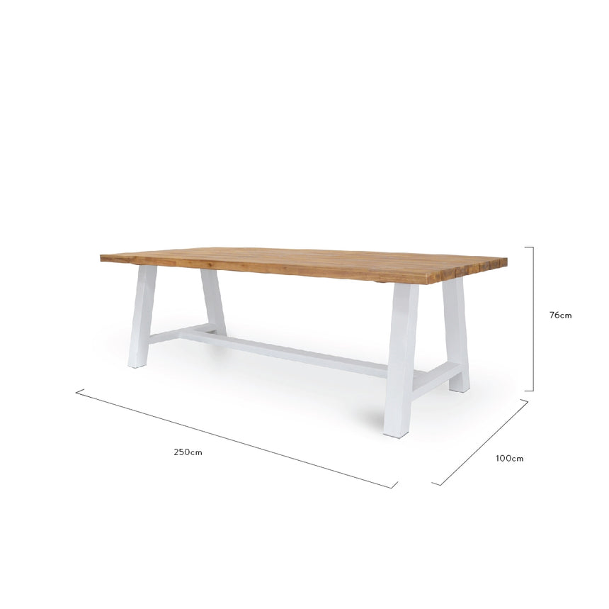 CDT1038 Outdoor 2.5m Dining Table With White Base
