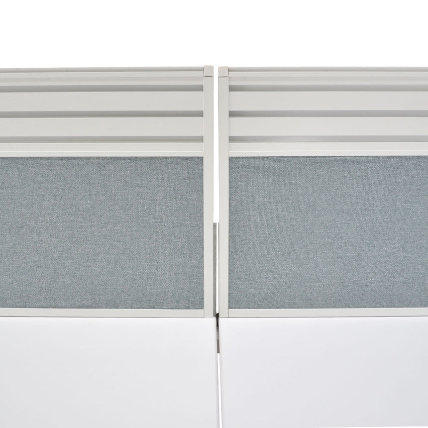 COT361-2xOT358 4 Person 3.6m Workstation - Grey Fabric Privacy Screen
