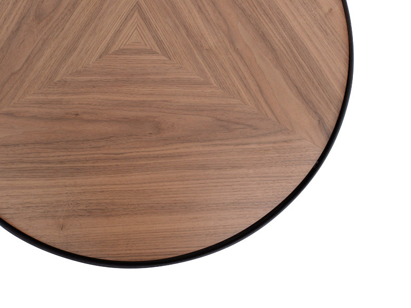 CCF385-M 60cm Round Coffee Table - Walnut Top - Black Frame