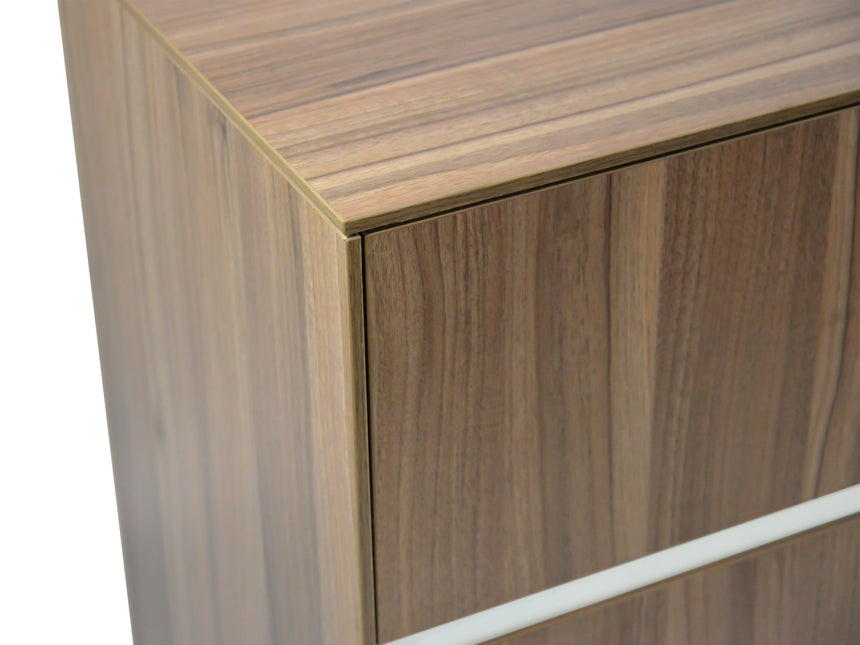 CDT293 2 Drawer Filing Cabinet with Cupboard - Walnut