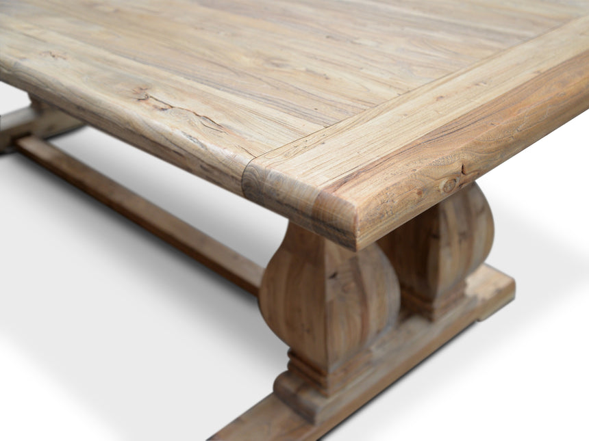 CDT561 Elm Wood Dining Table 3m - Rustic Natural