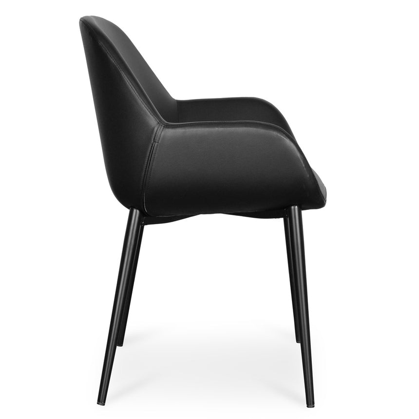 CDC2226-SD Dining chair - Black PU -  Black Legs