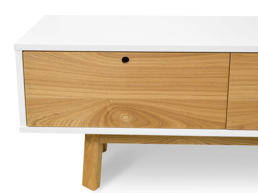 CTV863-DW 2.2m Scandinavian TV Unit - White - Natural