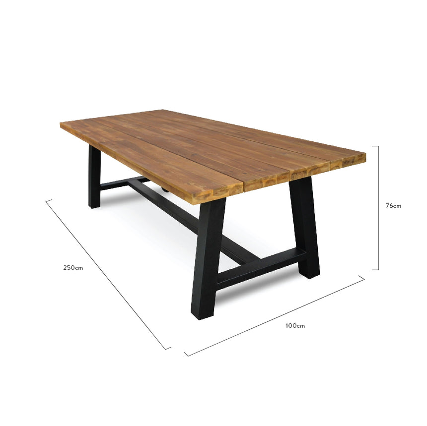 CDT1037 Outdoor 2.5m Dining Table With Black Base