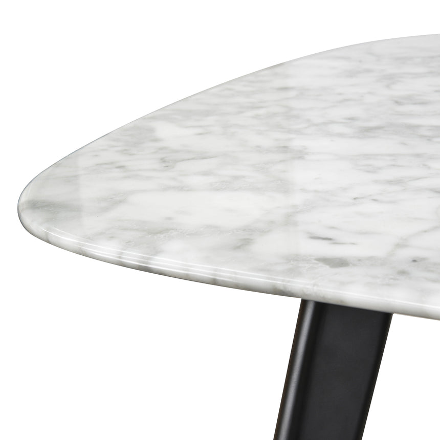 CDT1275-DW White 1.8m Marble Dining Table - Black Legs