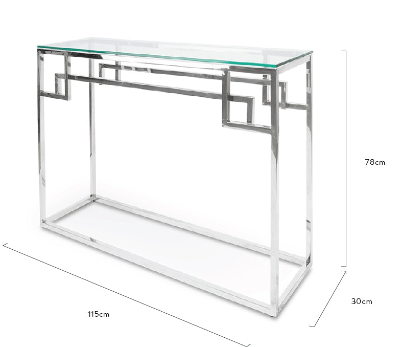 CDT2012-BS 1.15m Console Glass Table - Stainless Steel Base