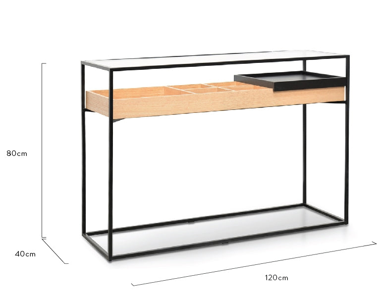 CDT2211-IG Metal Frame Console - Natural - Black