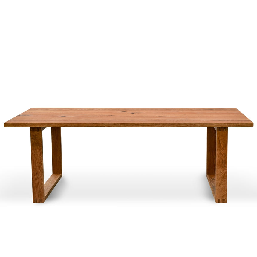 CDT2303-SI 2.2m Dining Table - Oak timber panels - Oak Wrapped Legs