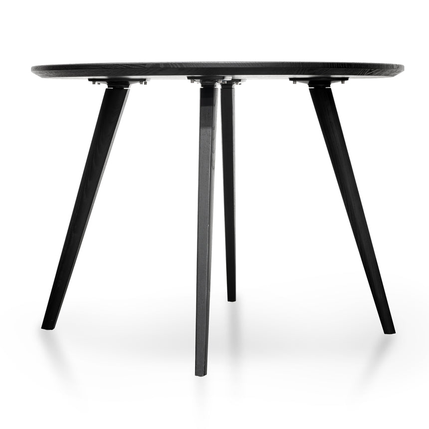 CDT2305-SD 100cm Round Dining Table - Black Veneer Top - Black Legs