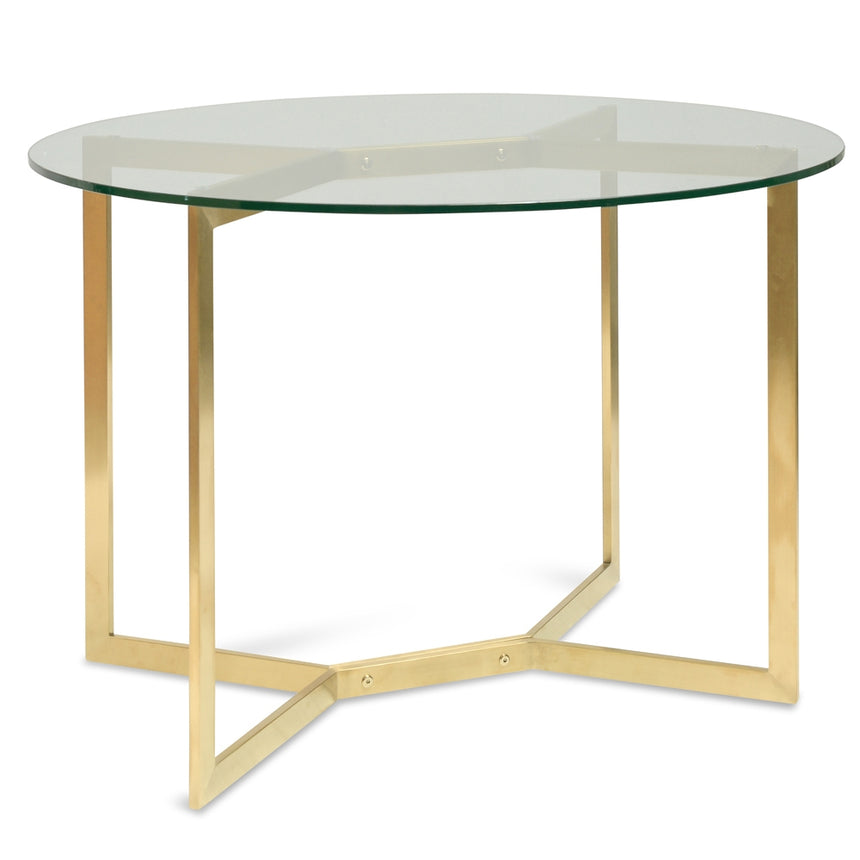 CDT2361-KS 1.2m Round Glass Dining Table -  Gold Base