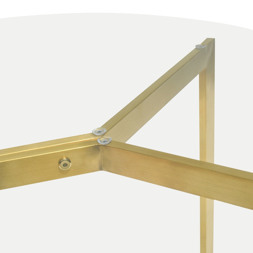 CDT2361-KS 1.1m Round Glass Dining Table -  Gold Base