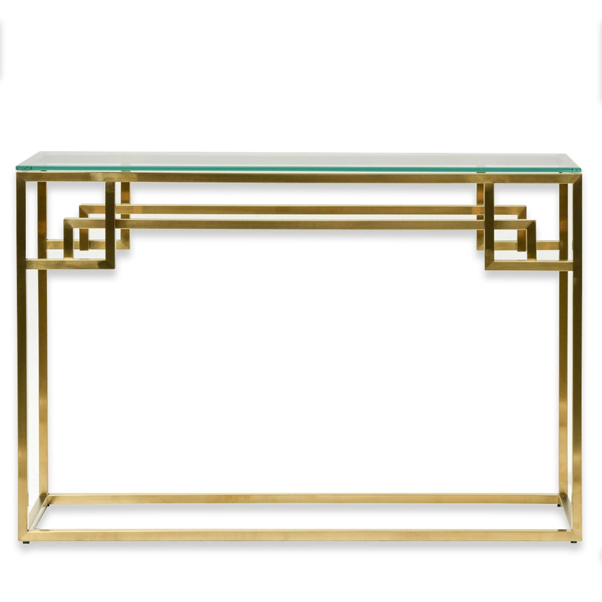 CDT2423-BS 1.15m Console Glass Table - Brushed Gold Base