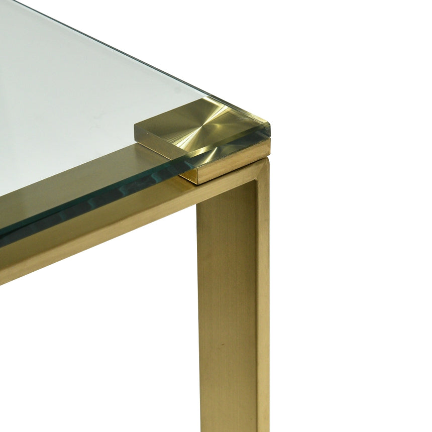 CDT2424-BS Glass Console Table - Brushed Gold Base