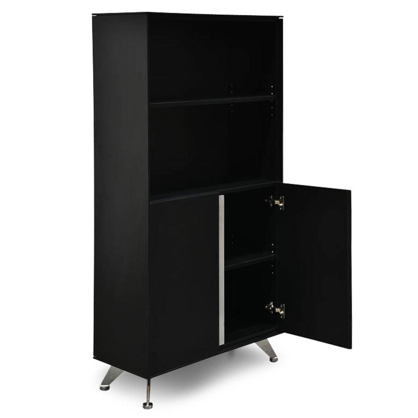 CDT2493-SN 2 Door Cabinet With Bookshelf - Black