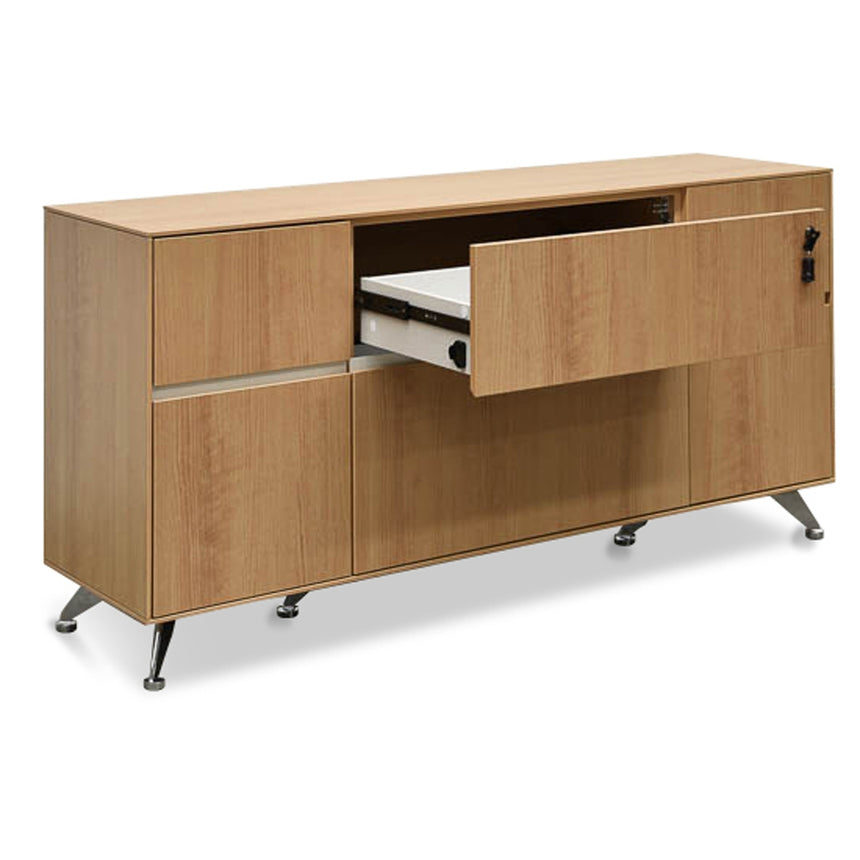 CDT2494-SN 2 Drawer Filing Cabinet with Cupboard - Natural