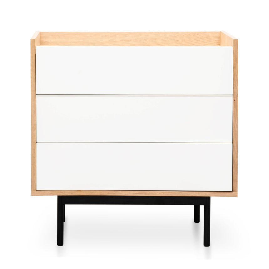 CDT2513-KD Natural 3 Drawer Chest - White Drawers