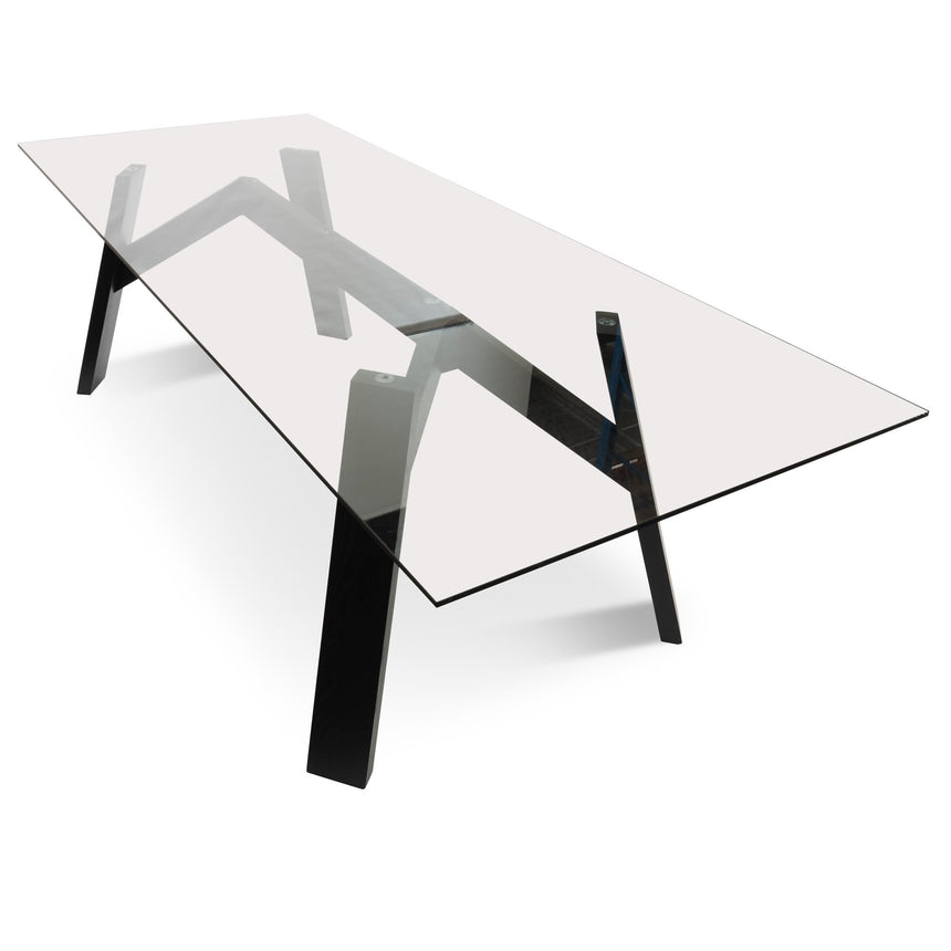 CDT2556-DW 2.4m Dining Table - Tempered Glass - Black Ash