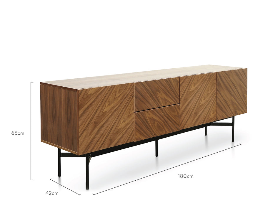 CDT2658-IG Sideboard Unit In Walnut - Black Legs