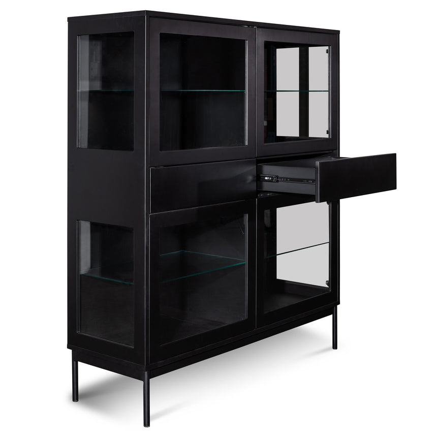 CDT2915-DW - 120cm Storage Cupboard - Black with Glass Door