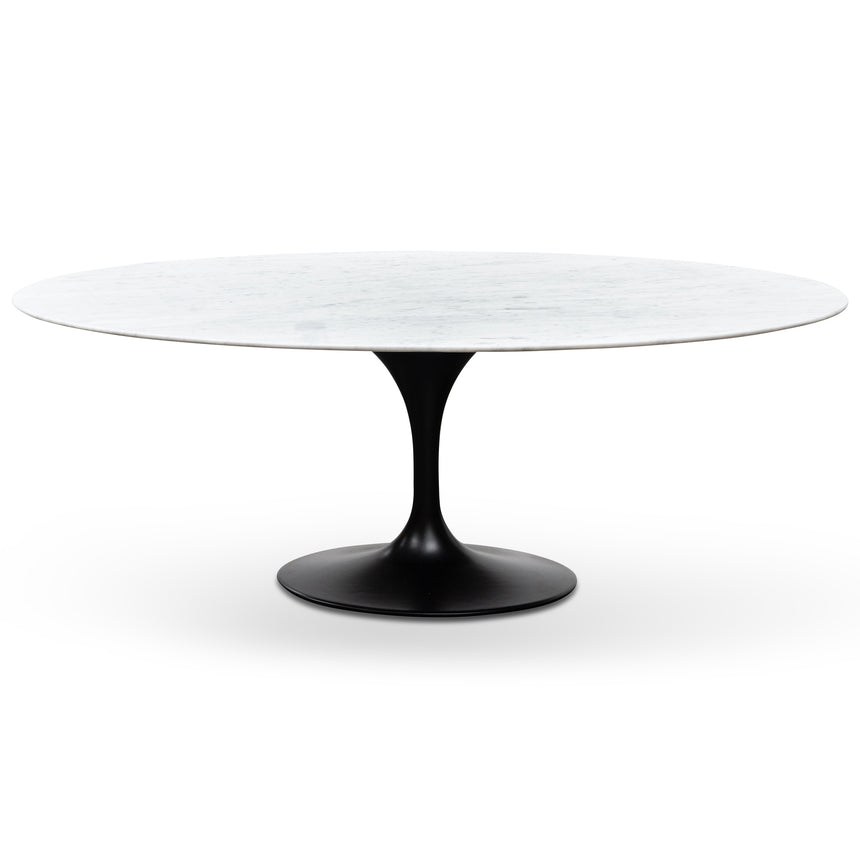 DT6029-SD Oval 2m Marble Dining Table - Black Base