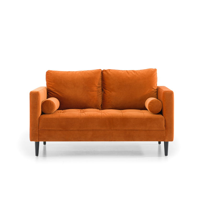 CLC2828-SKS 2 Seater Sofa - Orange Velvet with Black Legs