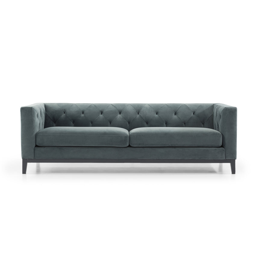 CLC2836-SKS 3 Seater Sofa - Shadow Grey Velvet with Black Base