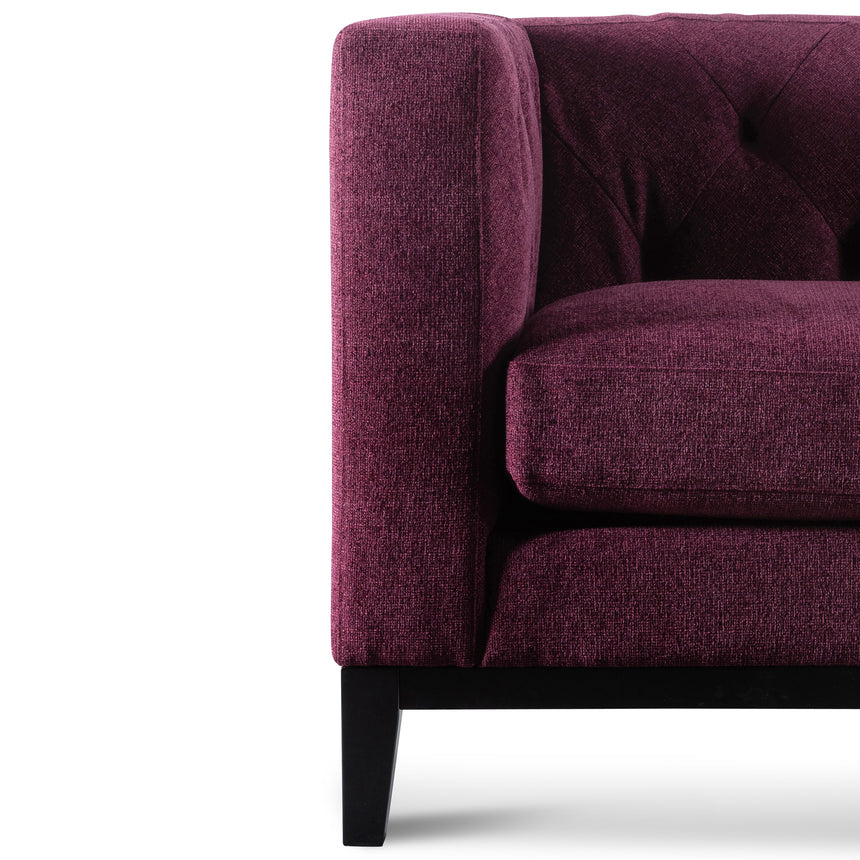 CLC6176-SKS 3 Seater Fabric Sofa - Deep Burgundy with  Black Leg
