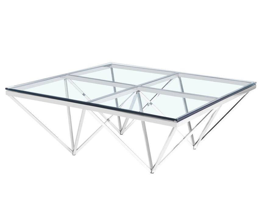 CCF1070-BS 105cm Coffee Table - Glass Top - Silver Base