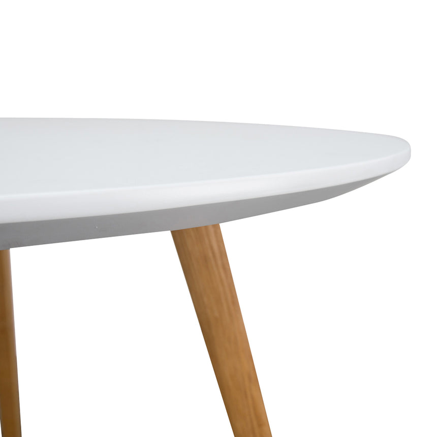 CDT223 100cm Round Dining Table - White - Natural Legs