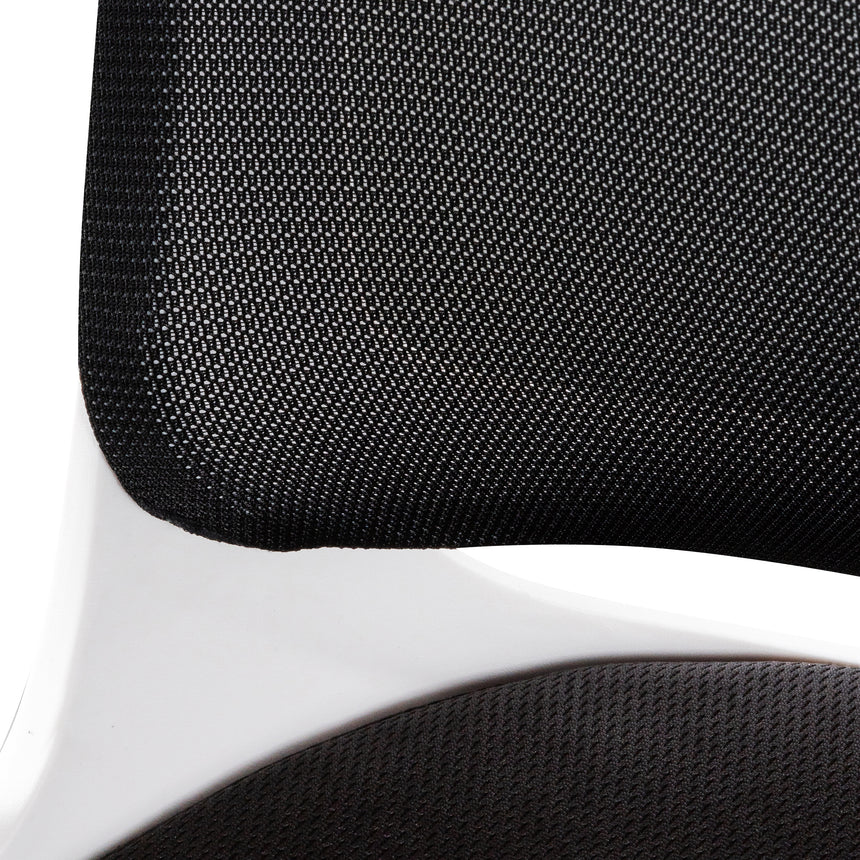 COC6190-LF Black Office Chair - White Arm and Base
