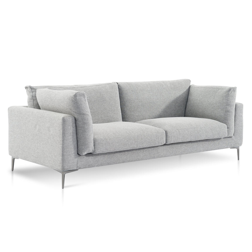 CLC6183-SKS 3 Fabric Seater Sofa - Gull Grey with Black Legs
