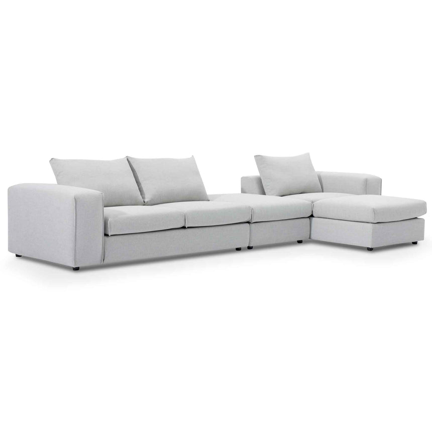 CLC6186-SKS 4 Seater Right Chaise Sofa with Ottoman - Light Texture Grey