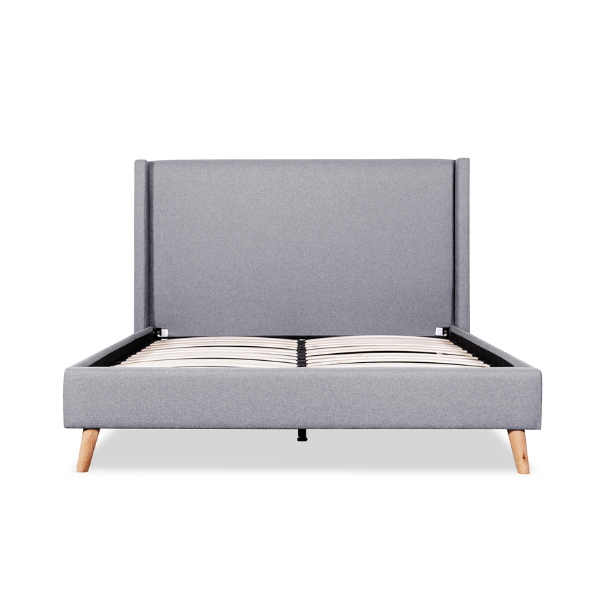 CBD2995-YO Fabric Wing King Bed Frame in Rhino Grey - Natural Legs