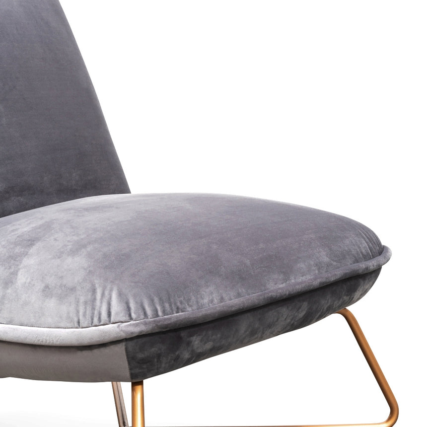 LC2304-IG Lounge Chair - Dark Grey Velvet - Black