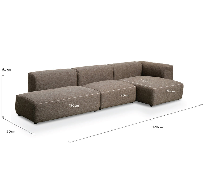 CLC2376-UN 3 Seater Right Chaise Sofa - Stone Charcoal